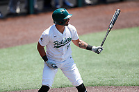 Wright State Raiders right fielder Alec Sayre (18) at bat against the Duke Blue Devils in NCAA Regional play on Robert M. Lindsay Field at Lindsey Nelson Stadium on June 5, 2021, in Knoxville, Tennessee. (Danny Parker/Four Seam Images)