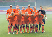 20150514 - BEVEREN , BELGIUM : Club Brugge's team pictured  with Heleen Jaques , Nicky Van Den Abbeele , Frauke Timmerman , Tine De Caigny , Barbara Lezy , Lynn Senaeve , Jody Vangheluwe , Jana Coryn , Silke Demeyere , Amber de Priester and Jassina Blom during the final of Belgian cup, a soccer women game between SK Lierse Dames and Club Brugge Vrouwen , in stadion Freethiel Beveren , Thursday 14 th May 2015 . PHOTO DAVID CATRY