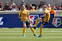 Sandy, UT - Saturday April 14, 2018: Rachel Corsie, Becky Sauerbrunn during a regular season National Women's Soccer League (NWSL) match between the Utah Royals FC and the Chicago Red Stars at Rio Tinto Stadium.