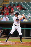 Montgomery Biscuits outfielder Kes Carter (10) at bat during a game against the Jackson Generals on April 29, 2015 at Riverwalk Stadium in Montgomery, Alabama.  Jackson defeated Montgomery 4-3.  (Mike Janes/Four Seam Images)