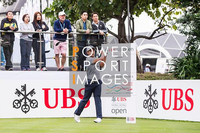 Rattanon Wannasrichan of Thailand tees off during the day three of UBS Hong Kong Open 2017 at the Hong Kong Golf Club on 25 November 2017, in Hong Kong, Hong Kong. Photo by Marcio Rodrigo Machado / Power Sport Images