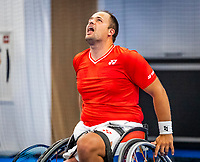 Amstelveen, Netherlands, 22 Augustus, 2020, National Tennis Center, NTC, NKR, National  Wheelchair Tennis Championships, Man's Single final single final : Tom Egberink (NED) celebrates<br /> Photo: Henk Koster/tennisimages.com