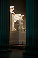 Lincoln Memorial, Lincoln Statue in Late Evening.  Washington, DC, USA.  Statue by Daniel Chester French.