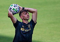 LOS ANGELES, CA - AUGUST 22: Tristan Blackmon #27 of LAFC with a throw in during a game between Los Angeles Galaxy and Los Angeles FC at Banc of California Stadium on August 22, 2020 in Los Angeles, California.