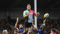 Despite the efforts of Jim Hamilton and Maro Itoje of Saracens ,Chris Robshaw of Harlequins during the Premiership Rugby match between Harlequins and Saracens - 09/01/2016 - Twickenham Stoop, London<br /> Mandatory Credit: Rob Munro/Stewart Communications