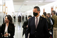 United States Senator Alex Padilla (Democrat of California)  arrives for Merrick Garland's Senate Committee on the Judiciary confirmation hearing to be Attorney General, Department of Justice, in the Hart Senate Office Building in Washington, DC, Monday, February 22, 2021. Credit: Rod Lamkey / CNP /MediaPunch