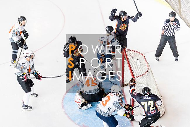 Sammi's Superstars vs Nakaraj during the Mega Ice Hockey 5s Asian B Final match on May 05, 2018 in Hong Kong, Hong Kong. Photo by Marcio Rodrigo Machado / Power Sport Images