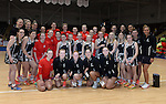 Wales and New Zealand Netball teams pose for photograhs with the Mascots <br /> <br /> Swansea University International Netball Test Series: Wales v New Zealand<br /> Ice Arena Wales<br /> 08.02.17<br /> ©Ian Cook - Sportingwales