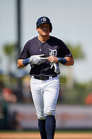 Detroit Tigers left fielder Mikie Mahtook (8) during a Grapefruit League Spring Training game against the Atlanta Braves on March 2, 2019 at Publix Field at Joker Marchant Stadium in Lakeland, Florida.  Tigers defeated the Braves 7-4.  (Mike Janes/Four Seam Images)
