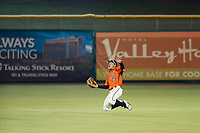 AZL Giants center fielder Ismael Munguia (29) attempts a catch of a shallow pop fly during the game against the AZL Reds on August 12, 2017 at Scottsdale Stadium in Scottsdale, Arizona. AZL Giants defeated the AZL Reds 1-0. (Zachary Lucy/Four Seam Images)