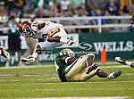 Iowa State Cyclones defensive back Jacques Washington (10) and Baylor Bears running back Terrance Ganaway (24) in action during the game between the Iowa State Cyclones and the Baylor Bears at the Floyd Casey Stadium in Waco, Texas. Baylor defeats Iowa State 49 to 26.
