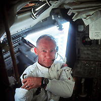 Buzz Aldrin inside the LEM during the lunar descent, July 20, 1969.