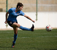 USWNT forward Megan Rapinoe takes a shot during practice at the Algarve Cup in Albufeira, Portugal.