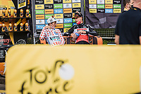Brent Van Moer (BEL/Lotto Soudal) & Ide Schelling (NED/Bora-Hansgrohe) awaiting post stage interviews <br /> <br /> Stage 4 from Redon to Fougéres (150.4km)<br /> 108th Tour de France 2021 (2.UWT)<br /> <br /> ©kramon
