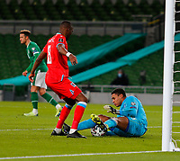 27th March 2021; Aviva Stadium, Dublin, Leinster, Ireland; 2022 World Cup Qualifier, Ireland versus Luxembourg; Gavin Bazunu (Republic of Ireland) saves at the feet of Christopher Martins (Luxembourg)