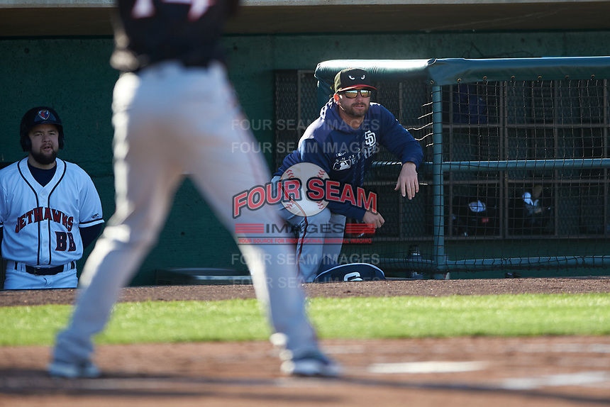 Lake Elsinore Storm hitting coach Doug Banks (8) during a California League game against the Lancaster JetHawks on April 10, 2019 at The Hanger in Lancaster, California. Lake Elsinore defeated Lancaster 10-0 in the first game of a doubleheader. (Zachary Lucy/Four Seam Images)