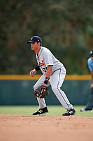 Detroit Tigers Jose Salas (76) during an Instructional League game against the Pittsburgh Pirates on October 6, 2017 at Pirate City in Bradenton, Florida.  (Mike Janes/Four Seam Images)