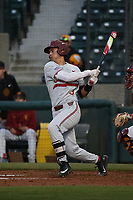 Daniel Bakst (3) of the Stanford Cardinal bats against the Southern California Trojans at Dedeaux Field on April 6, 2017 in Los Angeles, California. Southern California defeated Stanford, 7-5. (Larry Goren/Four Seam Images)