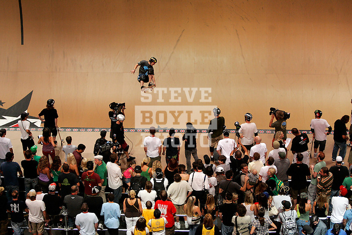 Anthony Furlong competes in the Men's Skateboarding Vert finals at the Staples Center during X-Games 12 in Los Angeles, California on August 3, 2006.