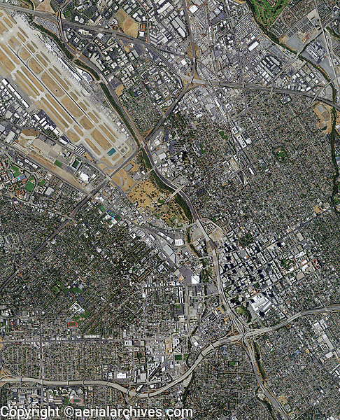 aerial photo map of of San Jose California, 2018.  A portion of the Norman Y. Mineta San Jose International Airport is visible in the upper right portion of the aerial map.