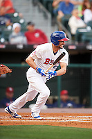 Buffalo Bisons first baseman Casey Kotchman (55) at bat during a game against the Lehigh Valley IronPigs on July 9, 2016 at Coca-Cola Field in Buffalo, New York.  Lehigh Valley defeated Buffalo 9-1 in a rain shortened game.  (Mike Janes/Four Seam Images)