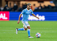 WASHINGTON, DC - APRIL 17: Maxi Moralez #10 of New York City FC dribbles during a game between New York City FC and D.C. United at Audi Field on April 17, 2021 in Washington, DC.
