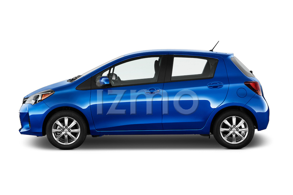 Car driver side profile view of a 2015 Toyota Yaris Le 5 Door Hatchback