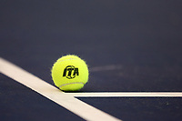 WINSTON-SALEM, NC - JANUARY 24: Indoor Tennis Association logo marked tennis ball during a game between Kentucky and Penn State at Wake Forest Indoor Tennis Center on January 24, 2020 in Winston-Salem, North Carolina.