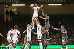Sione Kalamafoni beats Ryan Jones to the line out ball.<br /> <br /> Dove Men Series 2013<br /> Wales v Tonga<br /> Millennium Stadium - Cardiff<br /> 22.11.13<br /> ©Steve Pope-SPORTINGWALES