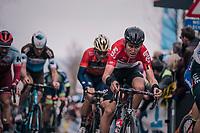 Tiesj Benoot (BEL/Lotto-Soudal) over the Oude Kwaremont<br /> <br /> 102nd Ronde van Vlaanderen 2018 (1.UWT)<br /> Antwerpen - Oudenaarde (BEL): 265km