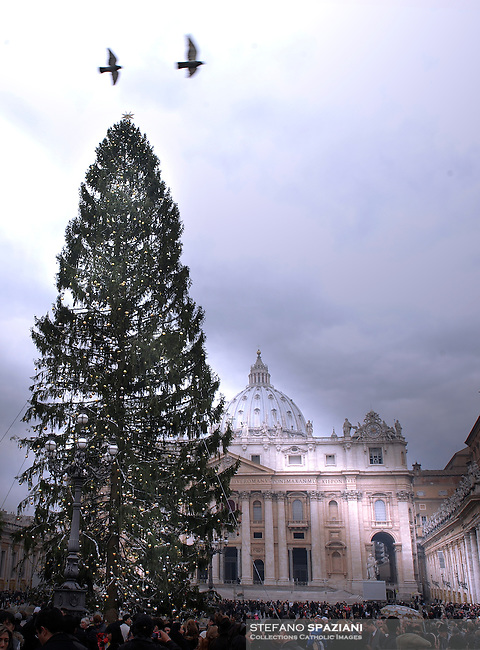 """Christmas tree during a ceremony """"Urbi et Orbi"""" in St-Peter's square at the Vatican, 25 December 2008. Pope Benedict XVI waves to faithful during the """"Urbi et Orbi"""" (to the City and to the World) message in St. Peter's square at the Vatican, Thursday, Dec. 25, 2008. The Pontiff in his Christmas message warned that the world was headed toward ruin if selfishness prevails over solidarity during tough economic times for both rich and poor nations. Speaking from the central balcony of St. Peter's Basilica on the day Christians commemorate Jesus' birth in Bethlehem, Benedict declared that the """"heart of the Christian message is meant for all men and women.."""