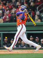 Designated hitter Shane Kennedy (11) of the Clemson Tigers in a game against the South Carolina Gamecocks on Saturday, March 2, 2013, at Fluor Field at the West End in Greenville, South Carolina. Clemson won the Reedy River Rivalry game 6-3. (Tom Priddy/Four Seam Images)