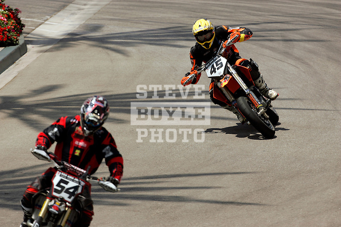 Benny Carlson (45) competes during the Moto X Super Moto final during X-Games 12 in Los Angeles, California on August 6, 2006.