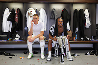Pictured: (L-R) Garry Monk, Wayne Routledge. Sunday 24 February 2013<br /> Re: Capital One Cup football final, Swansea v Bradford at the Wembley Stadium in London.