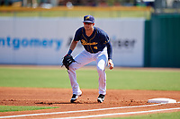 Montgomery Biscuits first baseman Dalton Kelly (9) during a game against the Biloxi Shuckers on May 8, 2018 at Montgomery Riverwalk Stadium in Montgomery, Alabama.  Montgomery defeated Biloxi 10-5.  (Mike Janes/Four Seam Images)