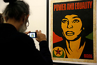 The screen printing titled 'Angela' at the Exhibition '3 Decades of Dissent' of the urban artist Shepard Fairey at the modern art gallery of Rome.<br /> Rome (Italy), September 17th 2020<br /> Photo Samantha Zucchi Insidefoto