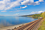 Railroad Tracks, train tracks along the shore of Puget Sound north of Seattle at Carkeek Park.  This main line north from Seattle is subject to frequent land slides.  It hosts, commuter trains, freights, Amtrak, and probably hazardous cargo in a fragile environment.