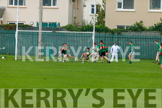 Castlegregory's Tadhg Ó Muireartaigh effort well blocked by the Beale defence in the Junior Football Championship