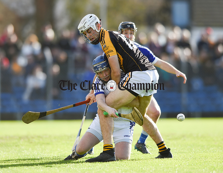 Gearoid Ryan of Cratloe in action against Cillian Brennan of  Ballyea during the county senior hurling final at Cusack Park. Photograph by John Kelly.