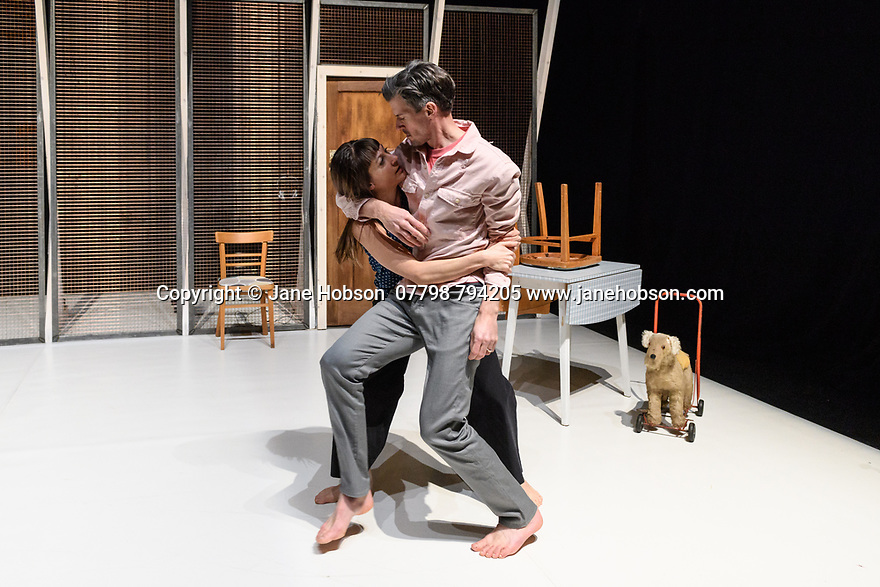 """London, UK. 12.02.2018. Lost Dog presents """"Juliet and Romeo: A Guide to Long Life and Happy Marriage"""", at Battersea Arts Centre. Conceived and directed by Ben Duke. Devised and performed by Ben Duke and Solene Weinachter. Artistic Collaborator: Raquel Meseguer. Lighting design by Jackie Shemesh, costume design by James Perkins. <br /> Juliet and Romeo - A Guide to Long Life & Happy Marriage is co-commissioned by Battersea Arts Centre, The Place, and Warwick Arts Centre. The work is funded by Arts Council England via Grants for the Arts. Production time supported by Lancaster Arts. Ben Duke is a Work Place artist.<br /> Photograph © Jane Hobson."""