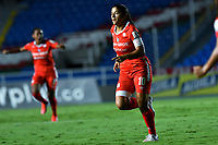 CALI - COLOMBIA, 10-12-2020: Catalina Usme del América celebra después de anotar el primer gol de su equipo partido por la final ida como parte de la Liga Femenina BetPlay DIMAYOR 2020 entre América de Cali e Independiente Santa Fe jugado en el estadio Pascual Guerrero de la ciudad de Cali. / Catalina Usme of America celebrates after scoring the first goal of his team during for the first leg final match as part of Women's BetPlay DIMAYOR League 2020 between America de Cali and Independiente Santa Fe played at Pascual Guerrero stadium in Cali city. Photos: VizzorImage / Nelson Rios / Cont.