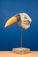 BNPS.co.uk (01202 558833)<br /> Pic: MaxWillcock/BNPS<br /> <br /> Pictured: 'Jabiru', a driftwood sculpture featuring a fluorescent orange plastic buoy, created by artist Sid Bunard in 2013.<br /> <br /> Twelve eye-catching driftwood sculptures by one of Britain's most eccentric artists have emerged for sale.<br /> <br /> Brighton-born Sid Burnard uses objects washed up on beaches to fashion unusual artworks of humans and animals.<br /> <br /> They are going under the hammer with auctioneers Woolley & Wallis where they could sell for a combined £4,000.<br /> <br /> The collection includes an impressive Jabiru bird whose beak is made out of a fragment of an orange buoy.