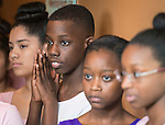 Students from Marshall Middle School wait to perform during State of the Schools luncheon at the Hilton of the Americas, February 15, 2017.