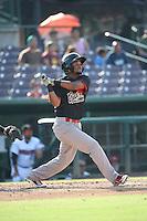 Robelys Reyes (1) of the Visalia Rawhide bats against the Inland Empire 66ers at San Manuel Stadium on June 26, 2016 in San Bernardino, California. Inland Empire defeated Visalia, 5-1. (Larry Goren/Four Seam Images)
