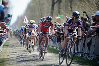 Greg Van Avermaet (BEL/BMC) coming out of sector 18: Trouée d'Arenberg - Wallers Forest (2.4km) right benind John Degenkolb (DEU/Giant-Alpecin)<br /> <br /> 113th Paris-Roubaix 2015