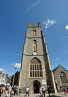 August 03, 2012 - Cardiff England - United Kingdom - St John the Baptist, Cardiff, and the Mediaeval tower is situated in the heart of the City of Cardiff, less than 200 yards from Cardiff Castle. The tower contains a fine peal of ten bells, tenor 25cwt. The tower is home to the Cardiff Students Bellringing Society (CCMC), as well as the local band Group. Photogrpah was made before Group F match between JPN and BRA at the Millennium Stadium. .