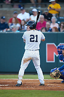 Ryder Green (21) of the Pulaski Yankees at bat against the Burlington Royals at Calfee Park on August 31, 2019 in Pulaski, Virginia. The Yankees defeated the Royals 6-0. (Brian Westerholt/Four Seam Images)