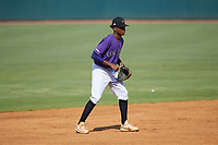 Shortstop Jordan McCants (8) of Pensacola Catholic HS in Cantonment, FL playing for the Colorado Rockies scout team on defense during the East Coast Pro Showcase at the Hoover Met Complex on August 5, 2020 in Hoover, AL. (Brian Westerholt/Four Seam Images)