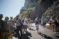 Petr Vakoc (CZE/Etixx-QuickStep) up the Lacets du Grand Colombier (Cat1/891m/8.4km/7.6%)<br /> <br /> stage 15: Bourg-en-Bresse to Culoz (160km)<br /> 103rd Tour de France 2016