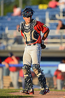 State College Spikes catcher Alex De Leon #53 during the second game of a doubleheader against the Batavia Muckdogs on June 29, 2013 at Dwyer Stadium in Batavia, New York.  Batavia defeated State College 5-4.  (Mike Janes/Four Seam Images)